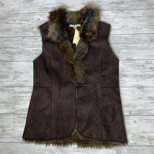 Fever Faux Leather Faux Fur Brown Vest Large NWT